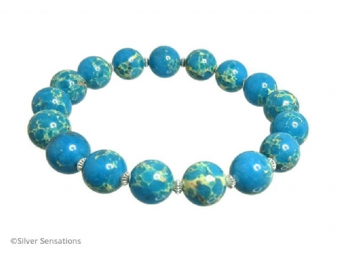 Aqua Blue & Beige Cream Sea Sediment Impression Jasper & Sterling Silver Bracelet